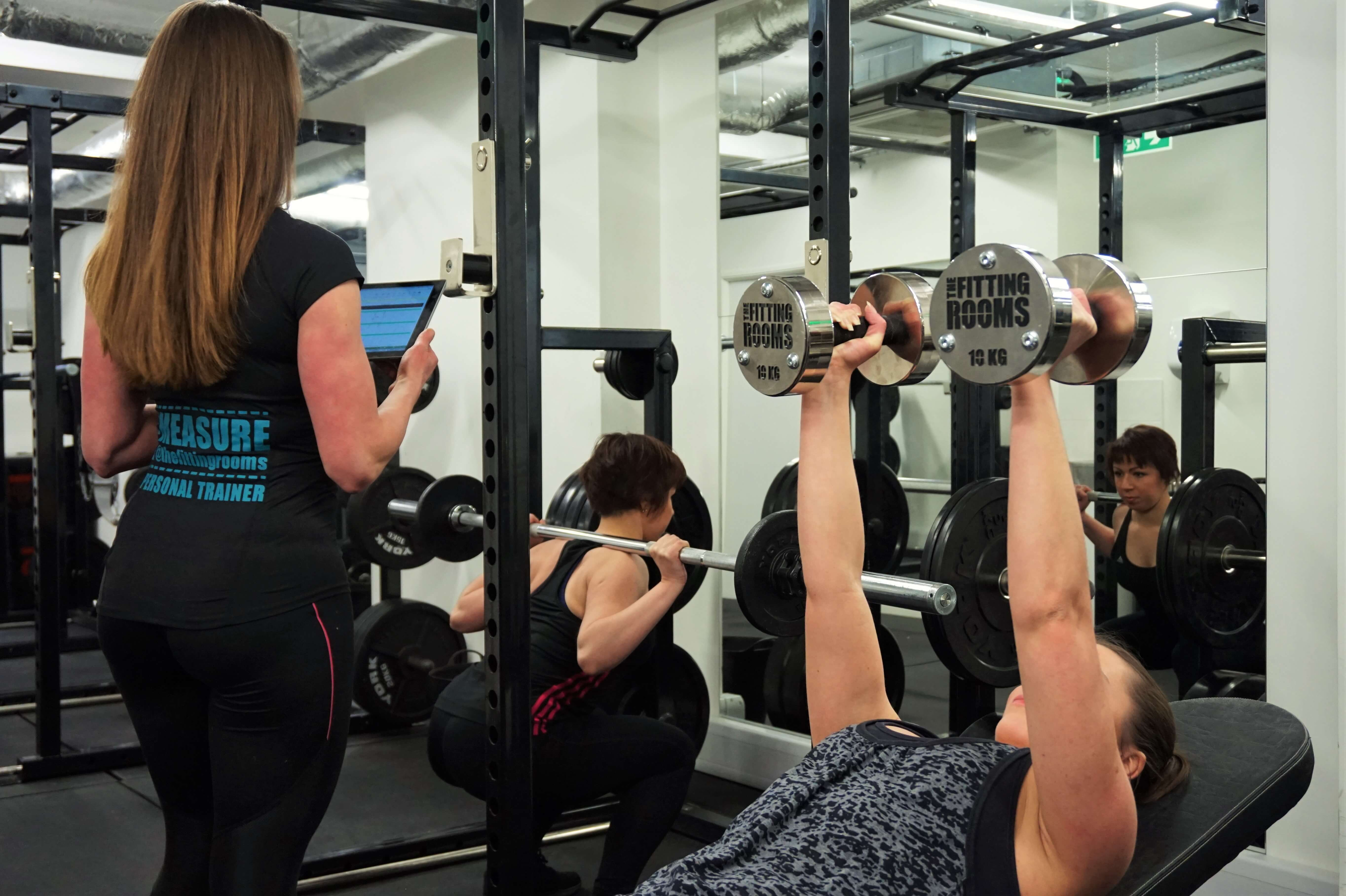 Women's weight training - personal trainer The Fitting Rooms Gym London Bridge Southwark