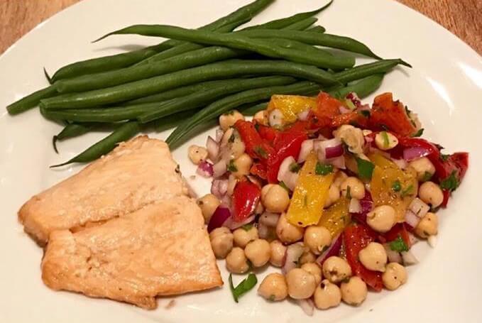 Veganuary healthy recipe - chickpea & pepper salad